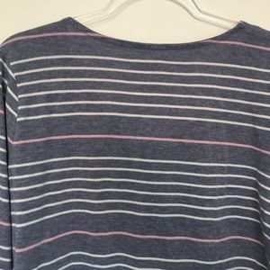 Sonoma Tops - Sonoma Striped Long Sleeve Top with lace up collar